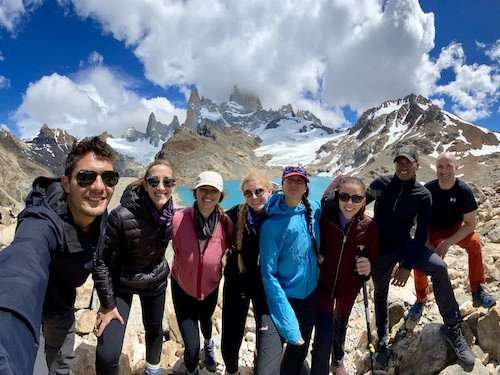 Grroup pano Fitz Roy summit itinerary