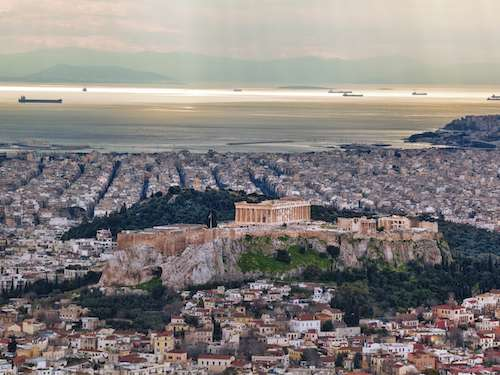 Aerial view to sea of Athens Greece