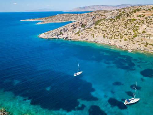 Beautiful sailing in Naxos Greece aerial