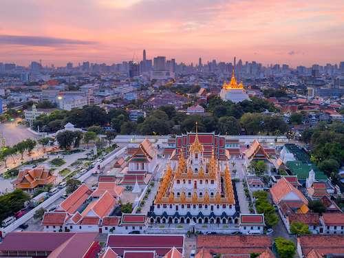 Wat Ratchanatdaram Temple skyline Bangkok Thailand