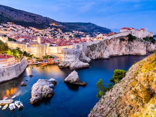 Beautiful night shot of Dubrovnik Old Town Croatia