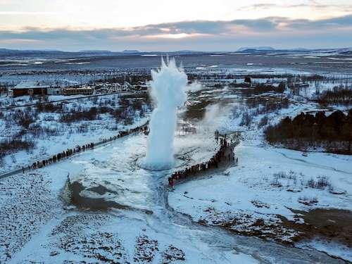 Geysir Iceland Winter Drone