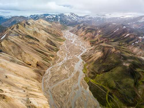 Landmannalaugar highlands glacial river braids