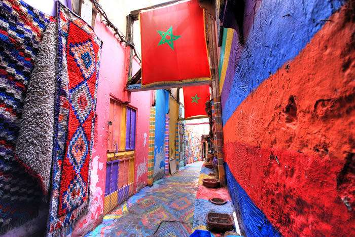Colorful street in the medina in Fes Morocco