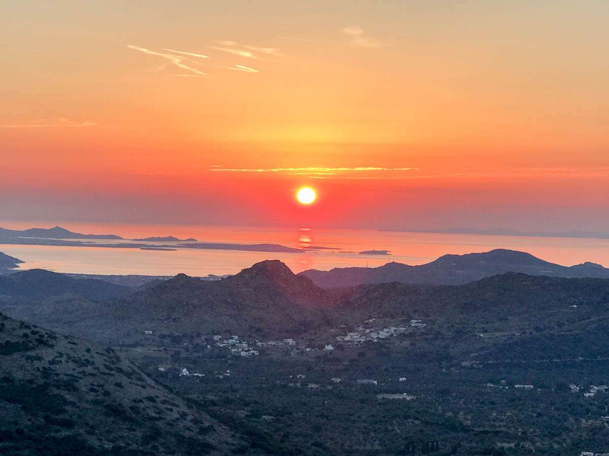 Sunset views in Filoti Naxos Greece