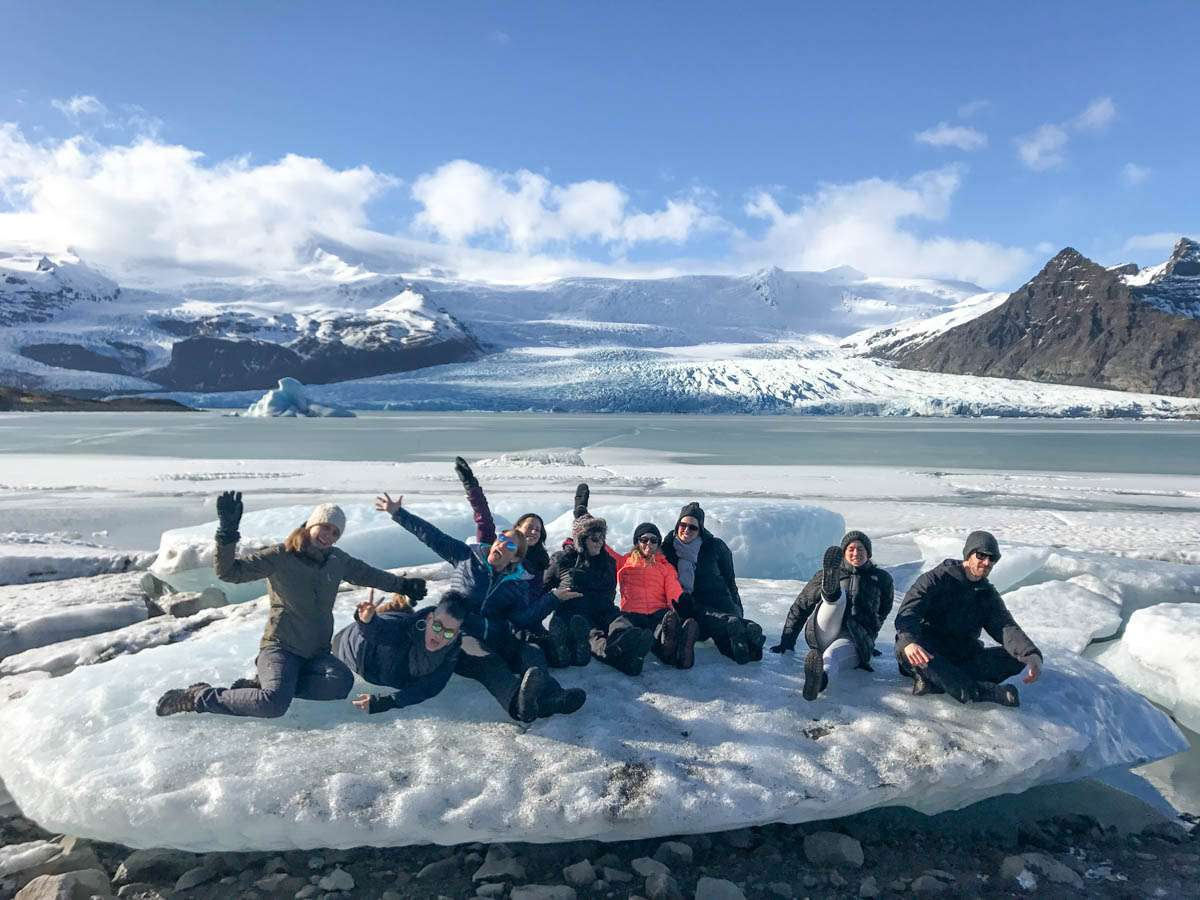 Group on iceberg in Iceland