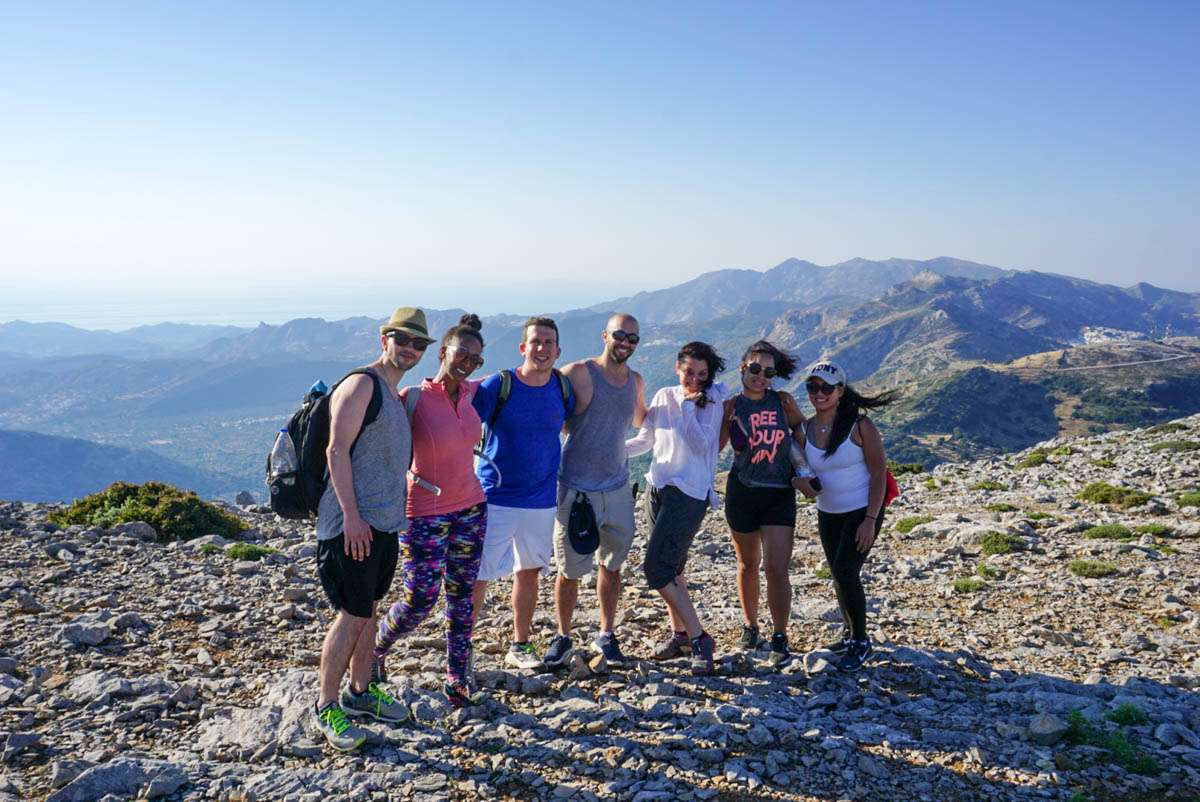 Group hiking success on Mount Zeus in Naxos Greece