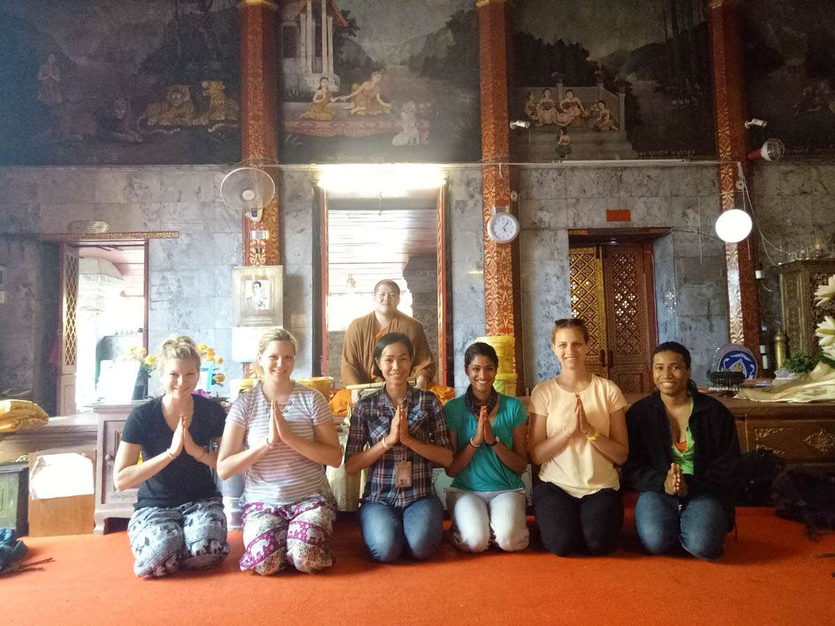 Group meditation in Bangkok Thailand