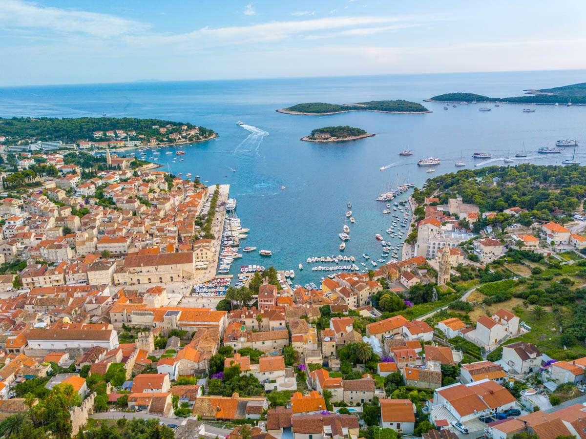 Aerial view of Hvar Croatia
