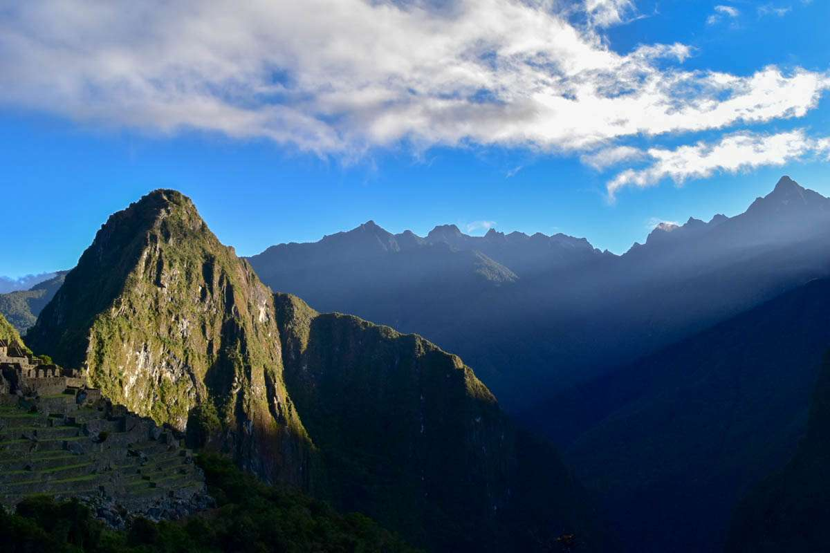 Ray of light hitting Machu Picchu