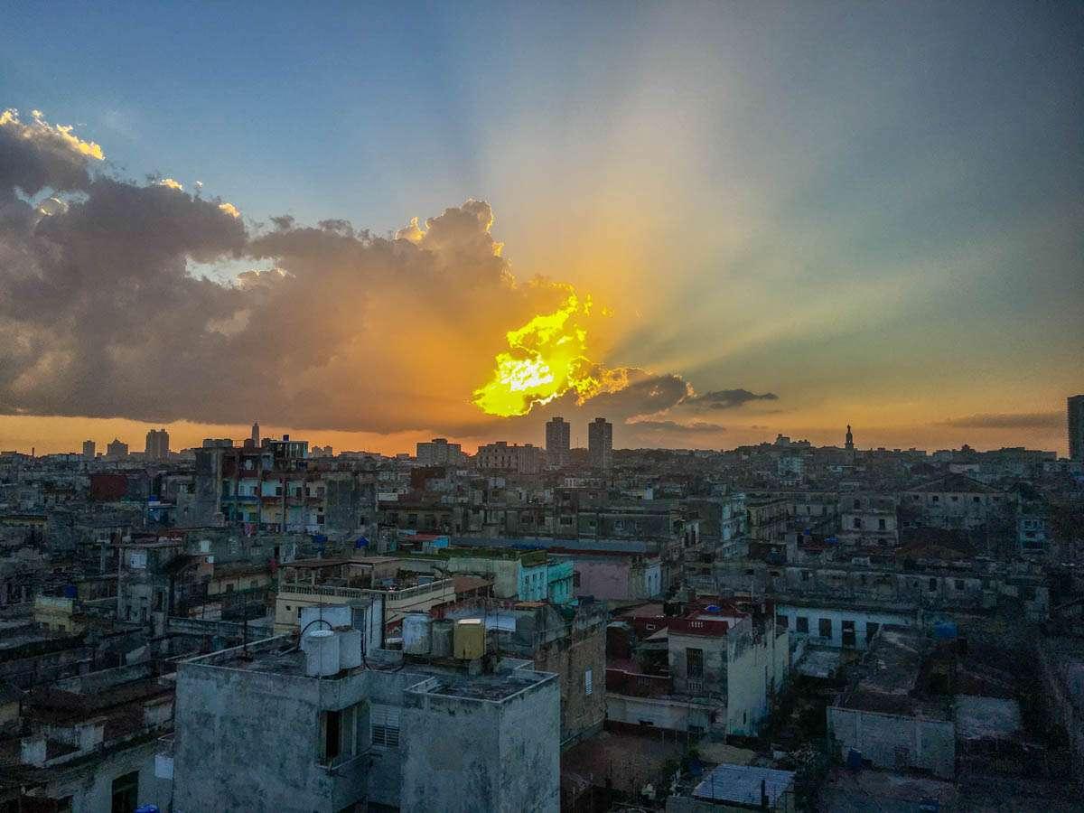 Beautiful sunset in Havana Cuba