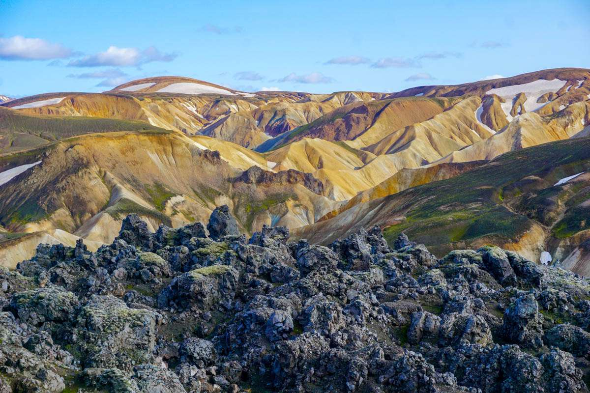 Lava rocks and mountains in Landmannalaugar Iceland