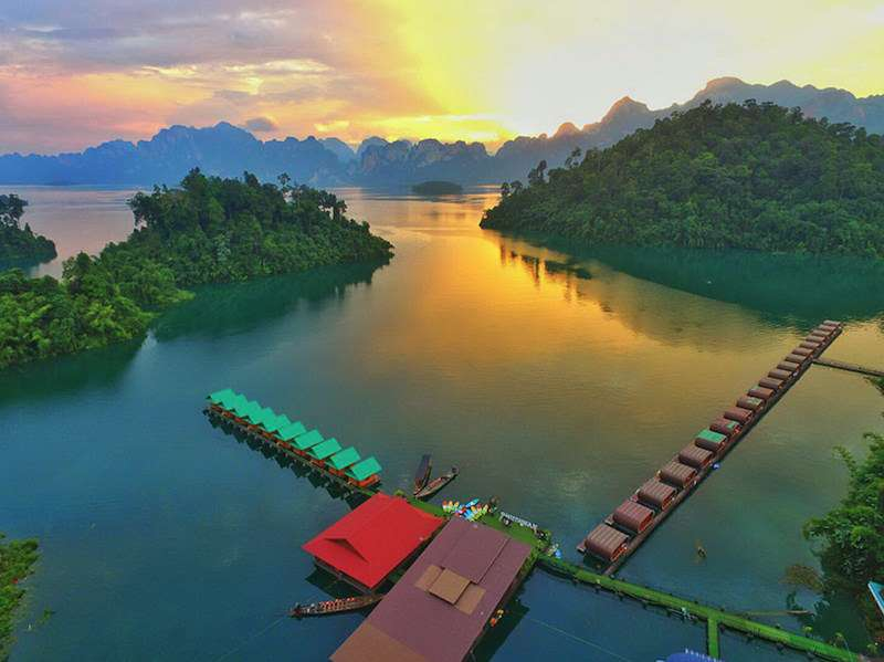 View of our floating hotel in Khao Sok