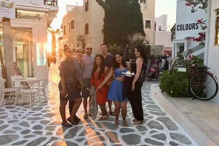 Greece group in the street of Naxos